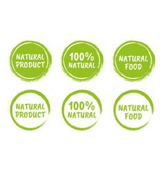 natural food logo icon set organic eco labels vector image