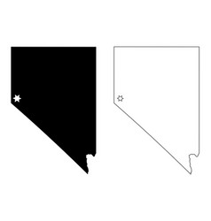 Nevada nv state map usa with capital city star at vector