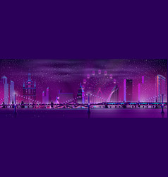 night city winter landscape background vector image