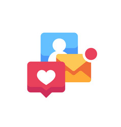 notification pop-ups flat icon e-mail and social vector image