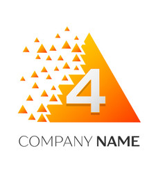 number four symbol on colorful triangle vector image