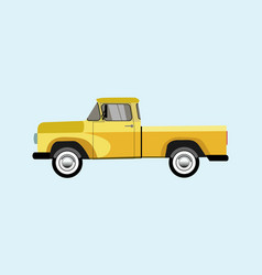 old pickup yellow on a blue background vector image