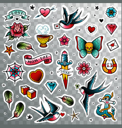 Old school tattoo set vector