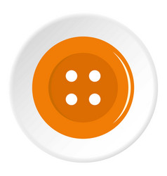 Orange sewing button icon circle vector