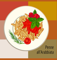 Penne pasta concept background cartoon style vector
