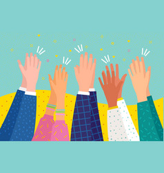 People applaud human hands clapping ovation flat vector