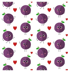 Plums seamless pattern vector image
