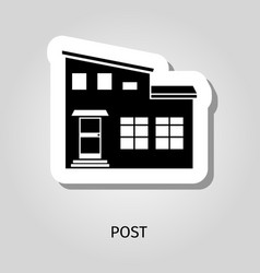Post black silhouette building sticker vector