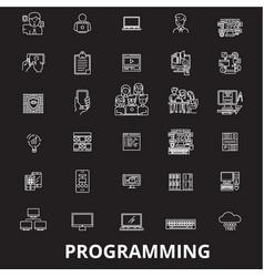 programming editable line icons set on vector image