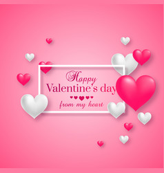 realistic floating 3d valentine hearts vector image
