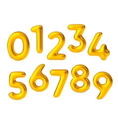 Realistic golden air ballon numbers float vector