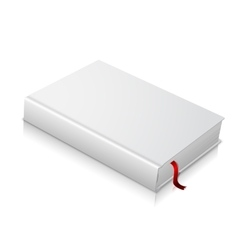 Realistic white blank hardcover book with red vector image