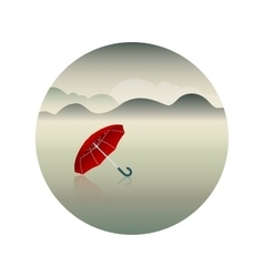 Red umbrella and rainy day background vector