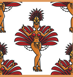 rio carnival woman in bikini and feathers seamless vector image