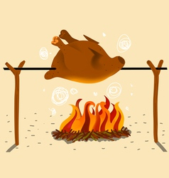 Roast chicken in spit vector