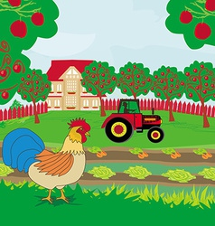 Rural landscape - rooster tractor and orchard vector