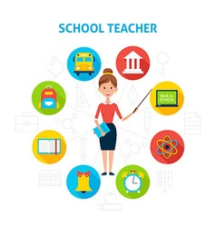 School Teacher with Education Icons Concept vector image