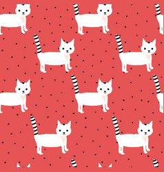 Seamless pattern with cute white kittens on vector