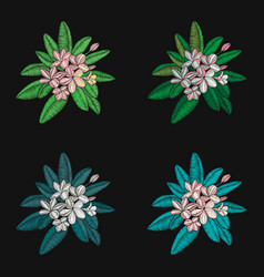 Set floral pattern with flowers embroidery vector