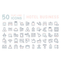 set line icons hotel business vector image