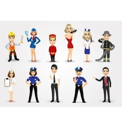 set of 11 professions vector image