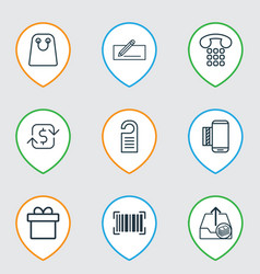 set of 9 e-commerce icons includes mobile service vector image