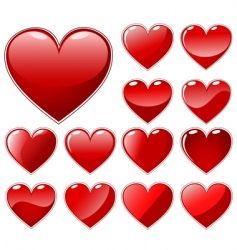 set of beautiful hearts vector image