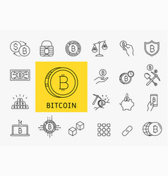 Set of line stroke cryptocurrency icons vector