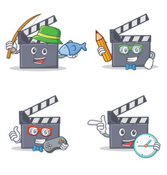 Set of movie clapper character with fishing vector
