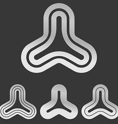 Silver line triangular logo design set vector