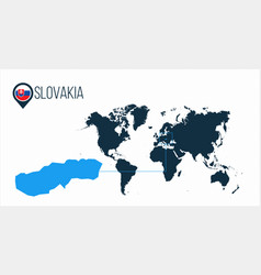 Slovakia location on the world map for vector