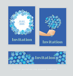 spring blossom invitation card template simple vector image