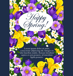 Springtime holiday flowers greeting card vector