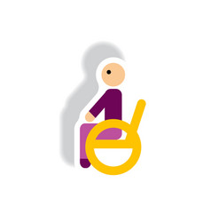 Stylish icon in paper sticker style man wheelchair vector