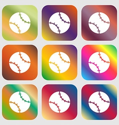 Tennis ball icon sign Nine buttons with bright vector image