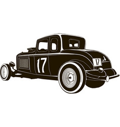 vintage hot rod drawing graphic isolated vector image