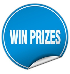 Win prizes round blue sticker isolated on white vector
