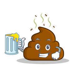 With juice poop emoticon character cartoon vector