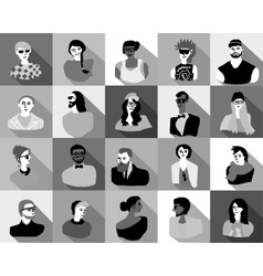Young fashion people icons portrait flat vector