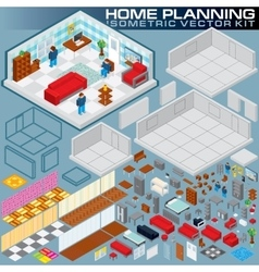 Isometric Home Plan 3D Creation Kit vector image vector image