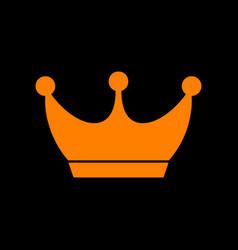 king crown sign orange icon on black background vector image