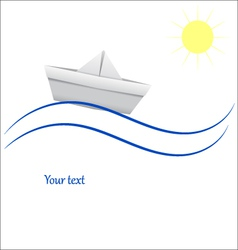 Paper boat in blue waves vector image