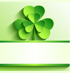 St Patricks card with green clover vector image vector image