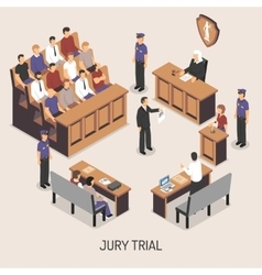 Jury Trial Isometric Composition vector image