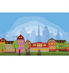 neighborhood houses vector image vector image