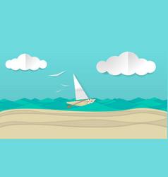 paper craft art of a sailboat ship vector image