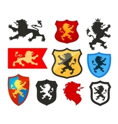 Shield with lion heraldry logo coat of vector