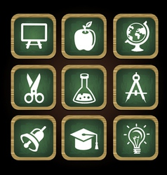 Education icons in square frames - back to school vector image vector image