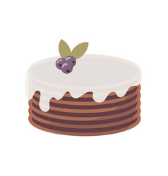flat icon of multi-layer chocolate cake with vector image
