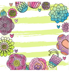 flower hand drawn invitation card vector image